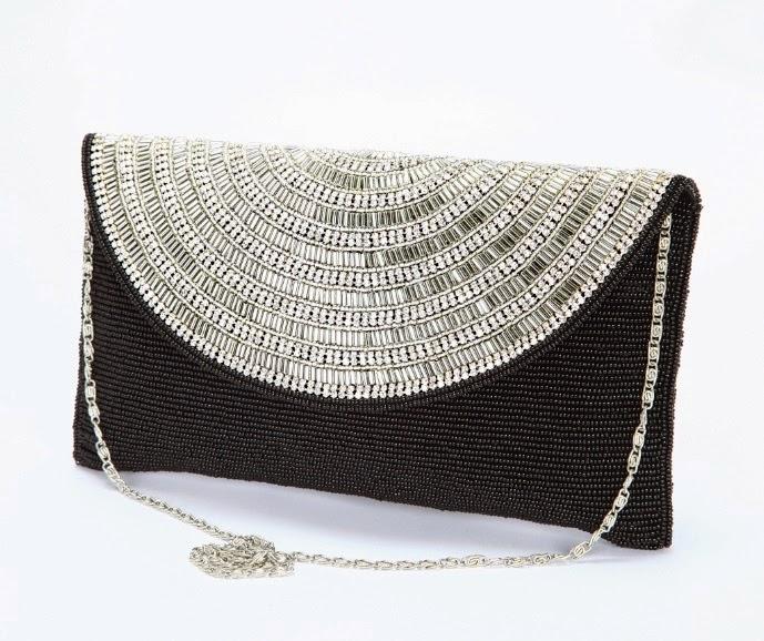 lauren lorraine black and silver beaded handbag clutch