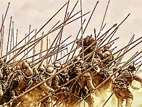 Sueño de batalla contra soldados de principios del siglo XVI con armadura, lanzas, llevando el casco morrión