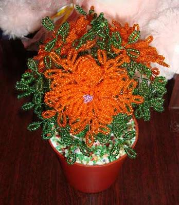 цветы из бисера, цветы бисер паетки, цветы бисер деревья