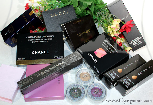 Chanel, Tom Ford, Gucci, Estee Lauder, Urban Decay, KVD, CoverFX