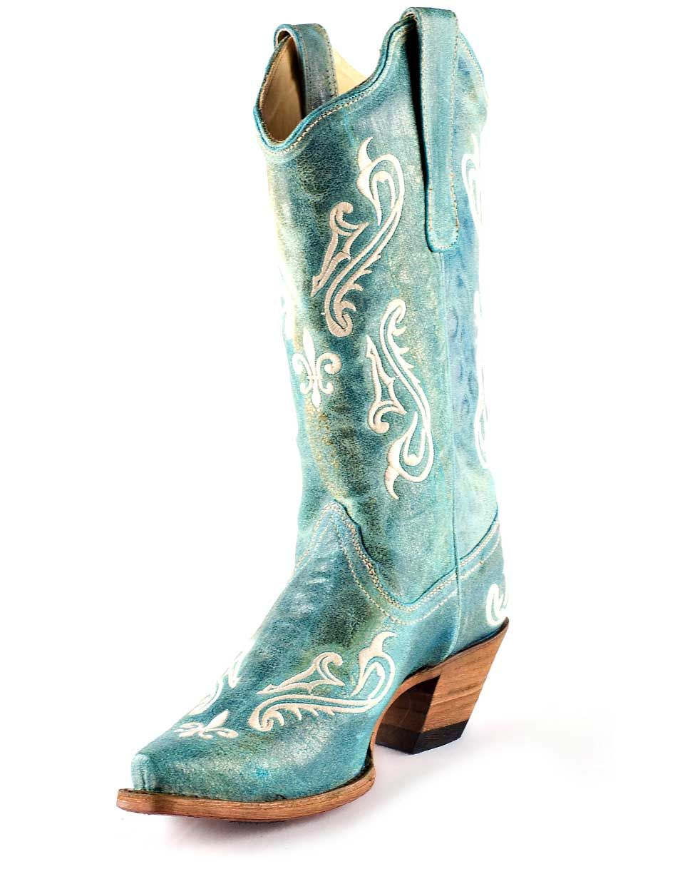 Amazing Corral Ladies Cowboy Western Boots Antique Saddle/Turquoise Inlay/Studs R1213 | EBay