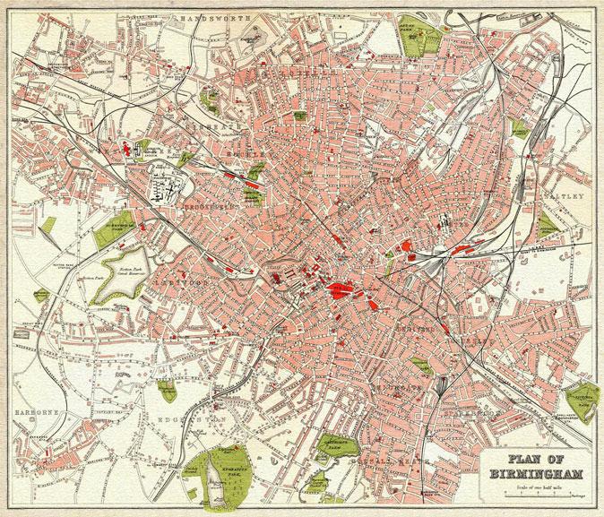 Street map Birmingham UK