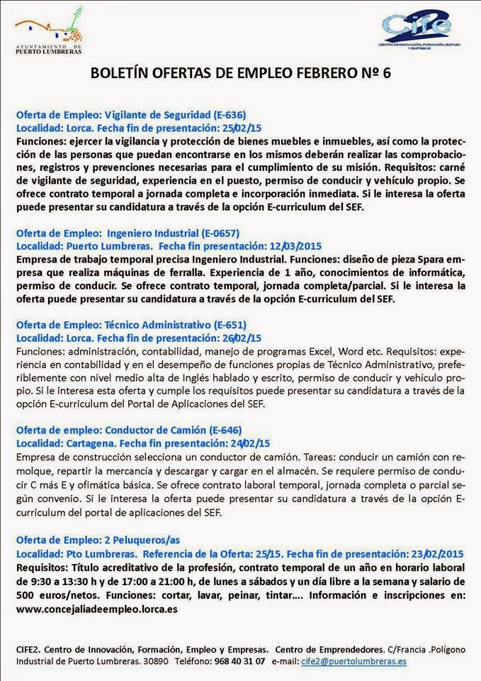 Parados de lorca varias ofertas de empleo en boletin 6 del ayuntamiento de puerto - Ofertas de trabajo en puerto real ...