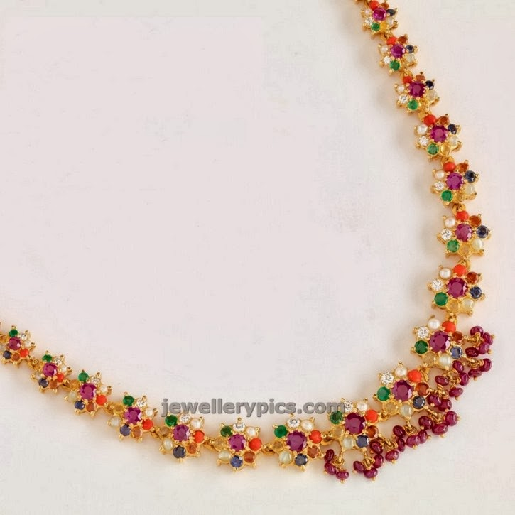 flower pattern navaratna necklace at a geeri pai jewellers