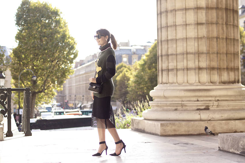 street style paris fashion week black skirt