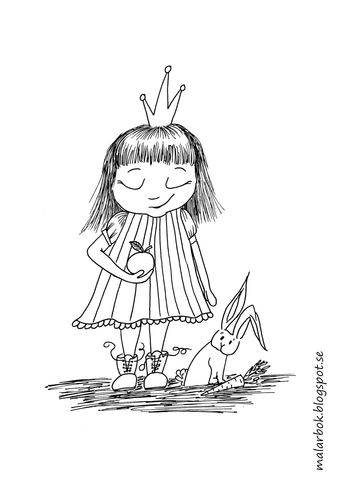 Tecknad prinsessa att färglägga