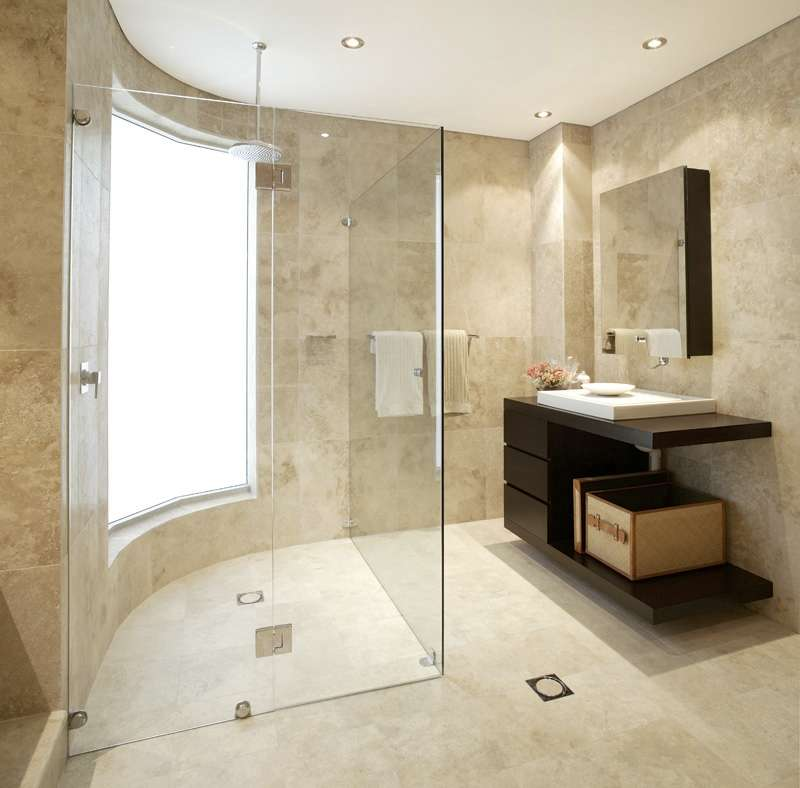 Travertine marble bathroom designs for Designer bathroom flooring