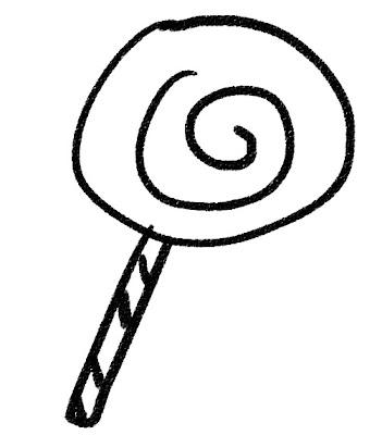 棒付きキャンディ・ペロペロキャンディーのイラスト(お菓子) モノクロ線画