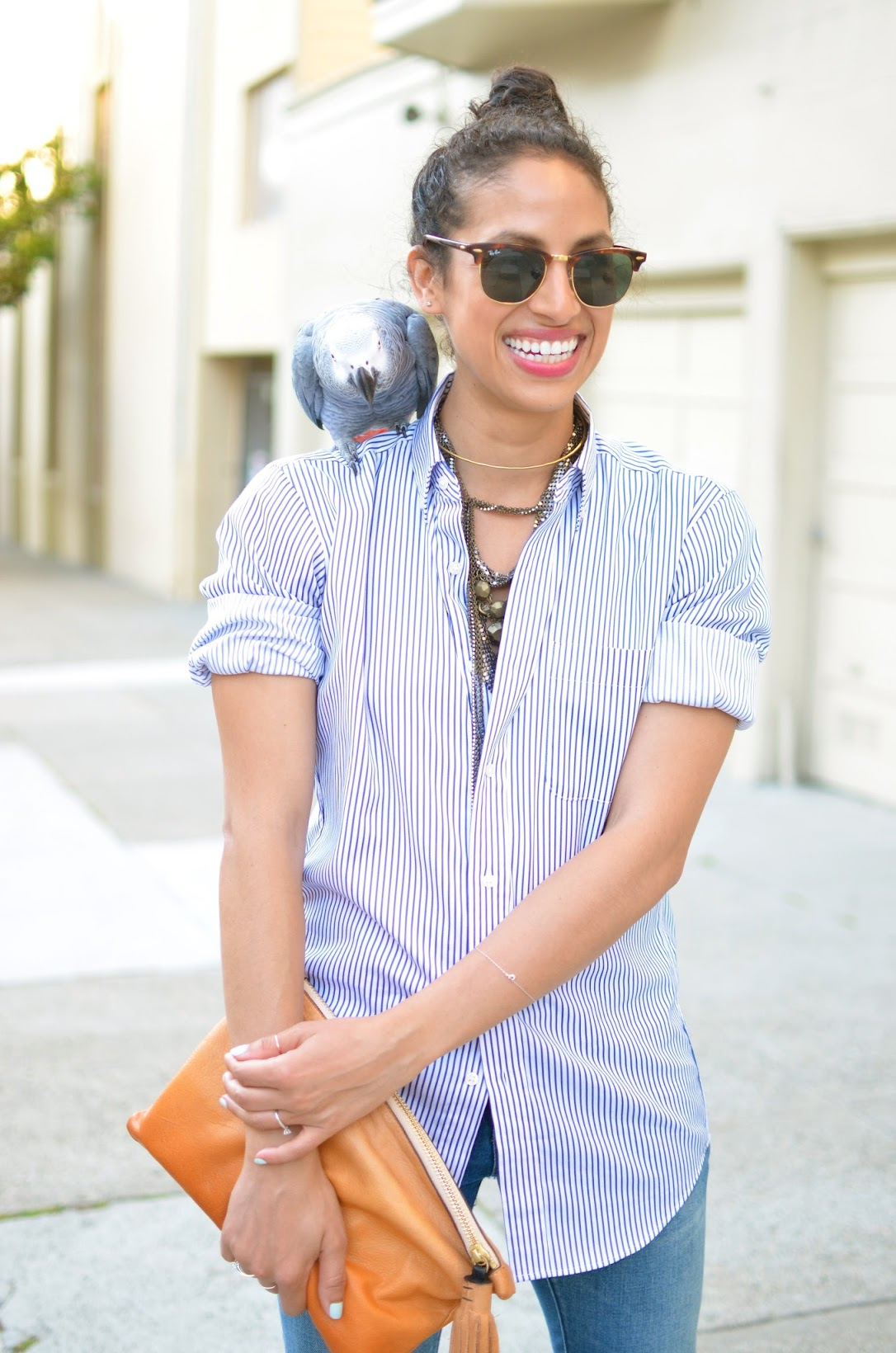 SF parakeet, striped buttondown, classic basics, basics, tan clutch, neck jewelry