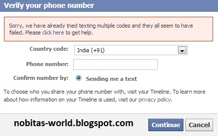 Facebook Mobile Verification Error