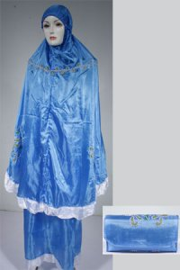 Mukena Lukis Model 4 - Biru (Toko Jilbab dan Busana Muslimah Terbaru)