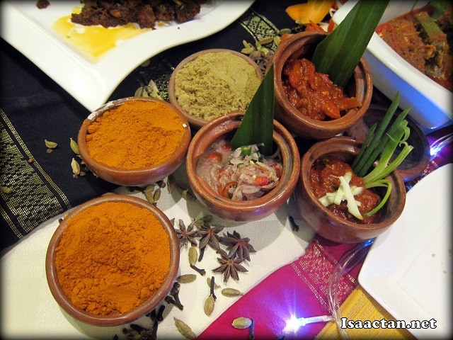 Various spices and sambals used to bring out the flavours