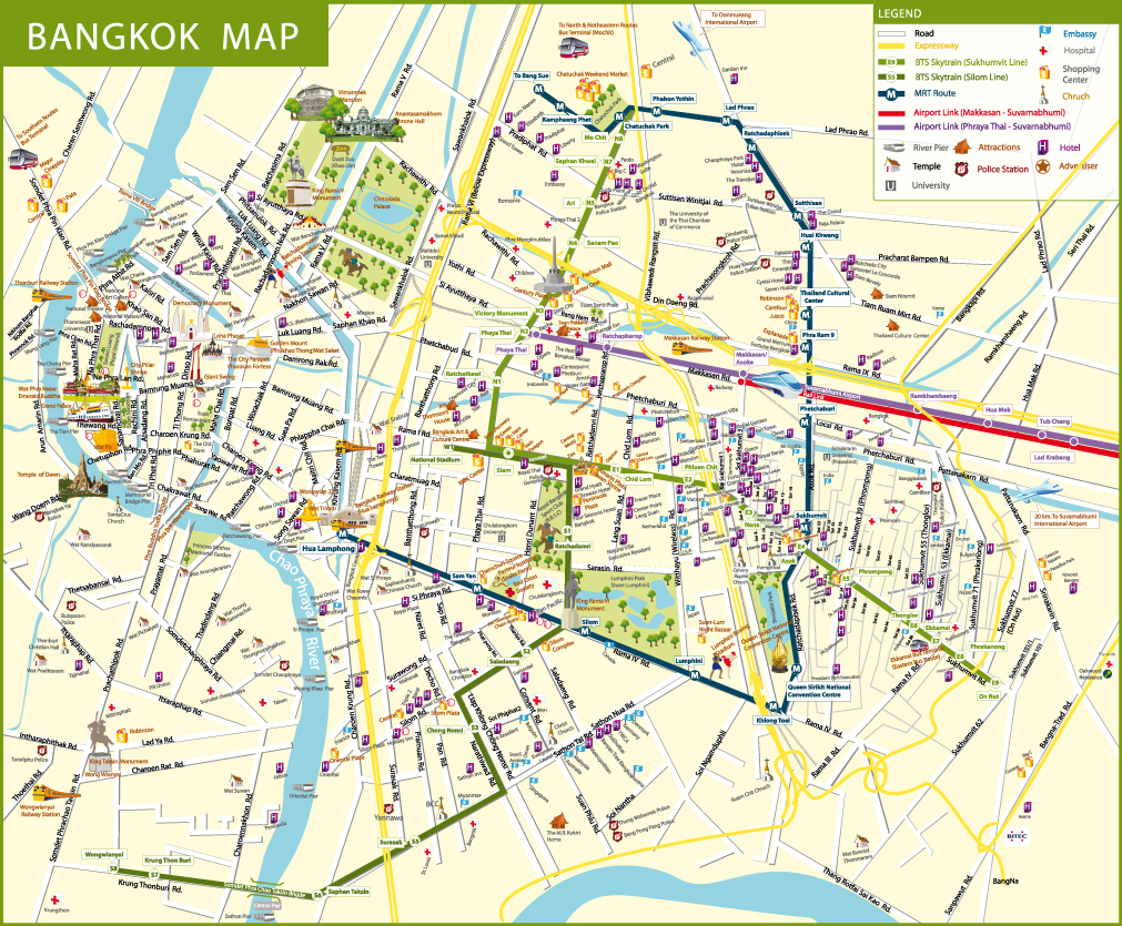 Detail Bangkok Map for Travelers Guide – Thailand Tourist Attractions Map