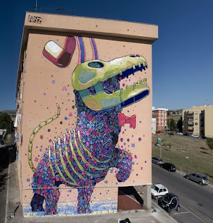 aryz, mural, street art, spain, huge, paint