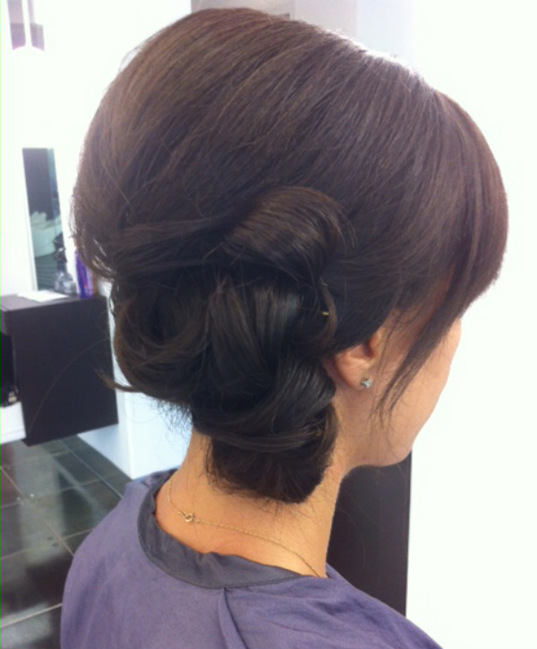 bridal hair, chignon