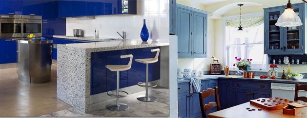 Decoraci n de interiores cocinas azules relajantes y llenas de color - Cocinas azules y blancas ...