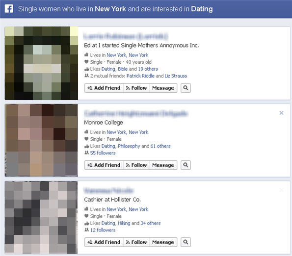 Find a date through Facebook graph search