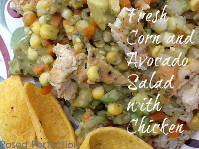 Fresh Corn and Avocado Salad with Chicken