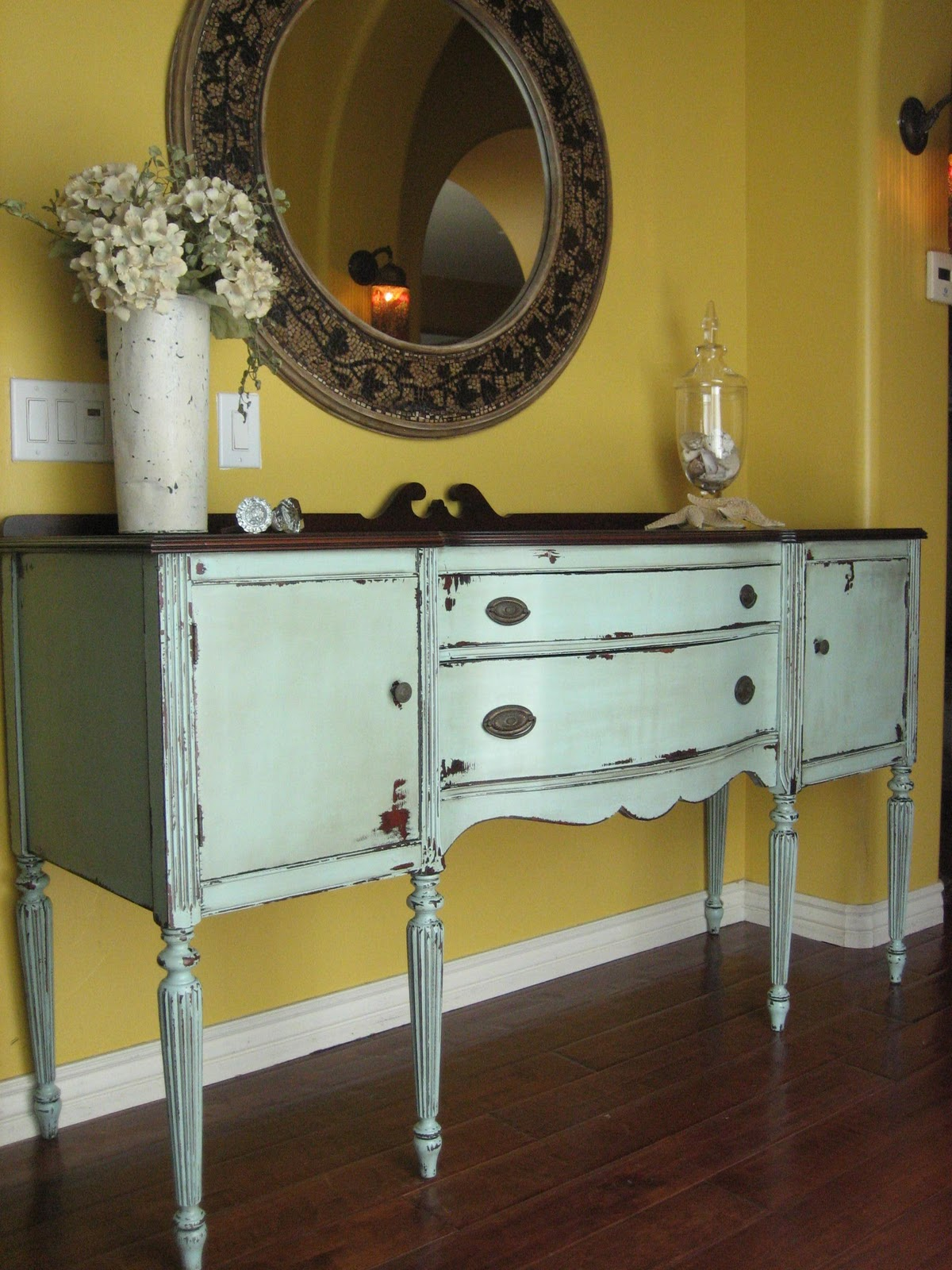 European paint finishes chippy grey green sideboard for Painted buffet sideboard