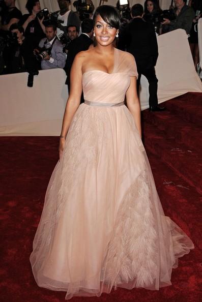 La La Vazquez in a beautiful blush, organza, one-shoulder Vera Wang ball gown at the 2011 MET Gala.