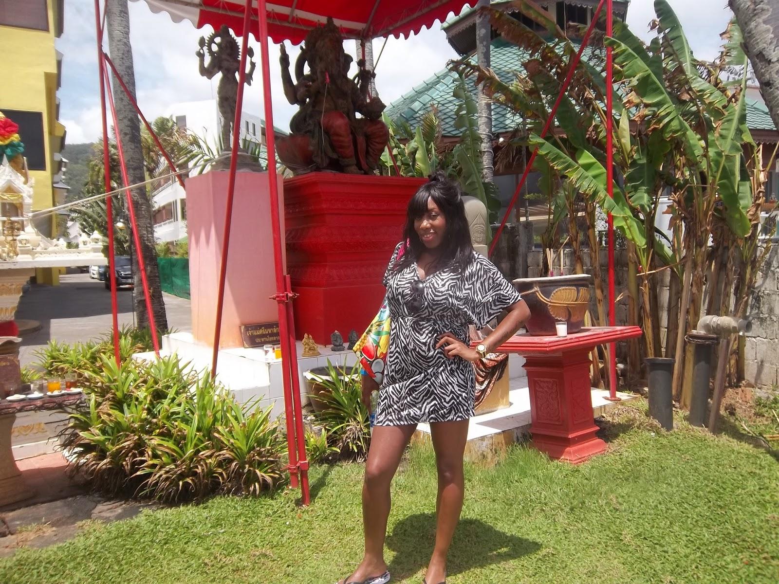 Black girl in Thailand, african in thailand, zebra kaftan