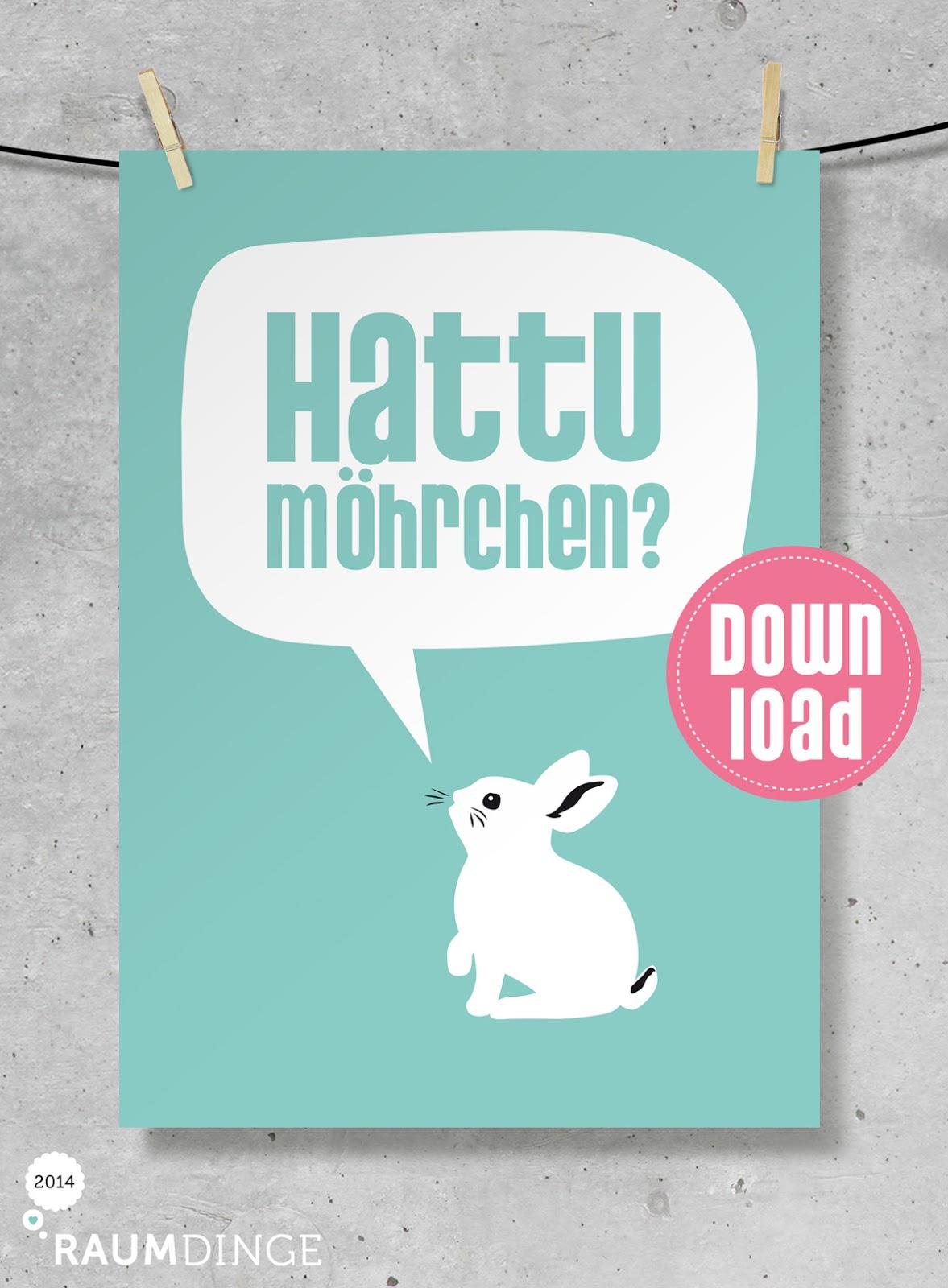 Raumdinge Hattu Möhrchen Poster Geschenkanhänger Zu Ostern