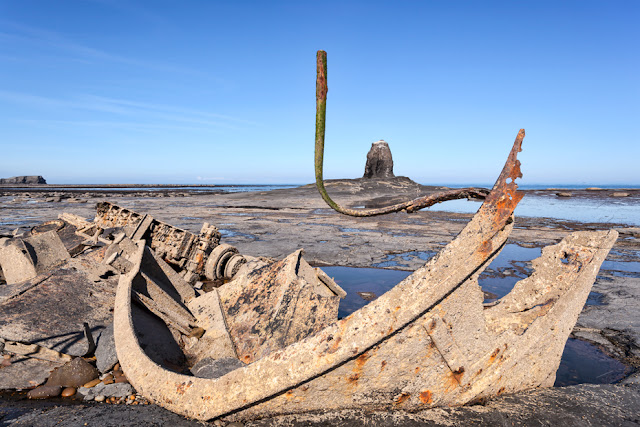 Shipwreck and Black Nab at Saltwick Bay in Whitby by Martyn Ferry Photography