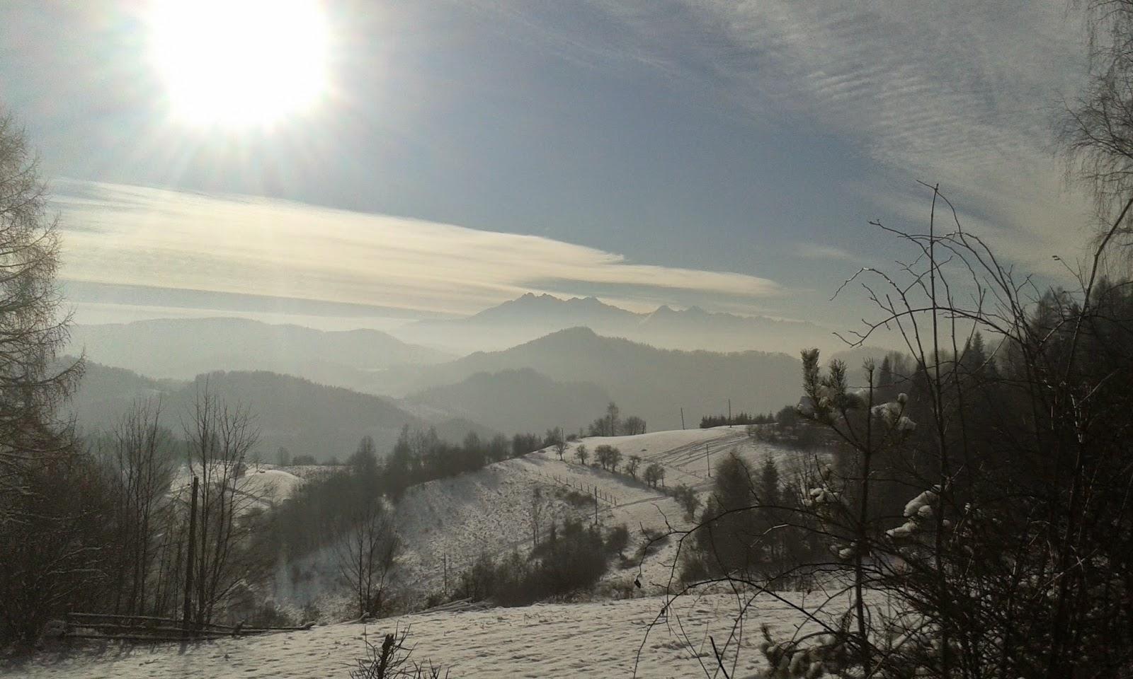 zimowy widok na Pieniny