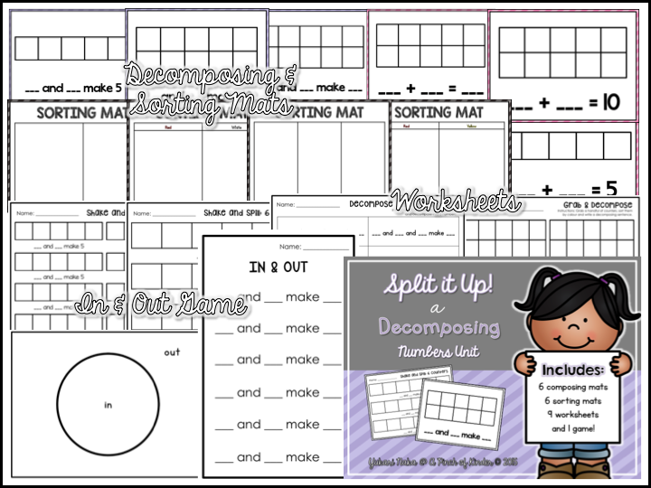 Teaching Decomposing Numbers in FDK A Pinch of Kinder – Composing and Decomposing Numbers Worksheet