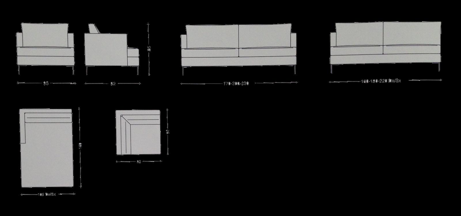 Scheda tecnica divano moderno manhattan tino mariani for Divano disegno