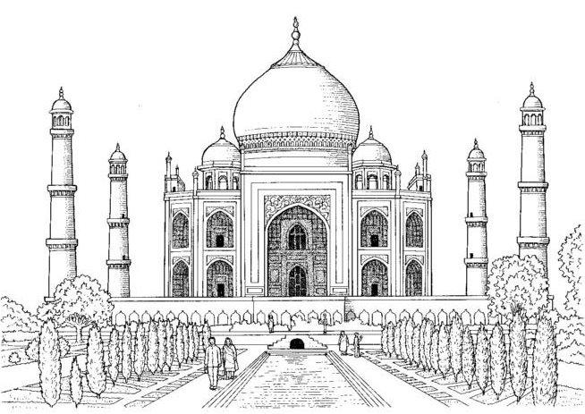 Taj mahal hd easy sketch pencil drawing images sketch for Taj mahal coloring page