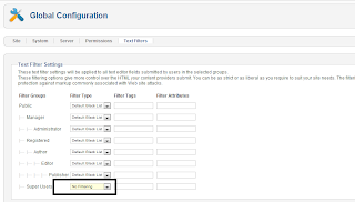 How to Allow iframes with global text filters in Joomla! 2.5