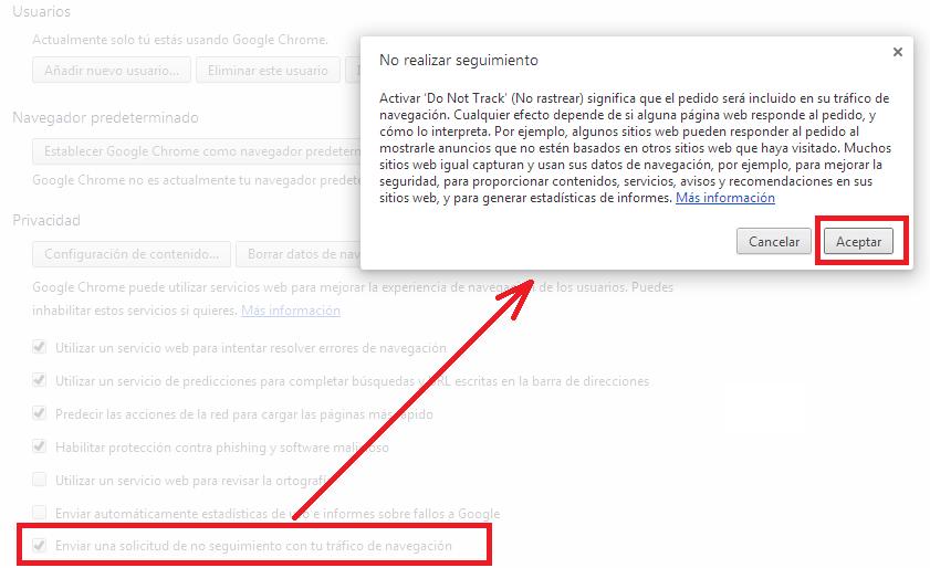 No rastrear en Chrome.