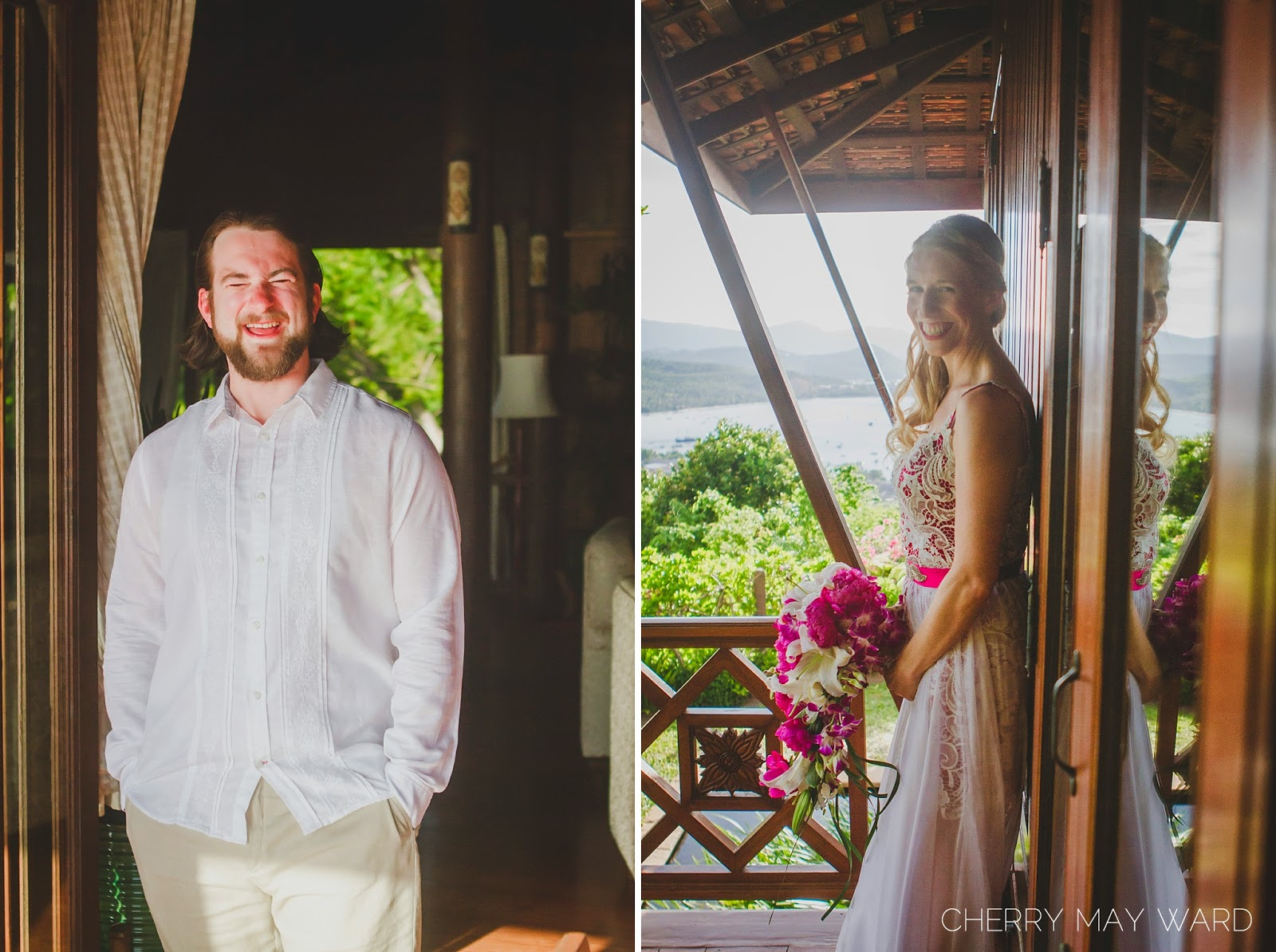bride and groom portraits before wedding ceremony, happy couple, cute bride and groom, married in Thailand, happy couple married on Koh Samui, Getting married on a Thail island, DIY wedding in Thailand