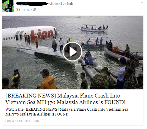 False News About Missing Malaysia Flight MH370 that been Found in Vietnam Sea.