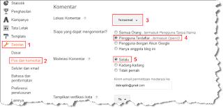 cara mengaktifkan moderasi komentar blog