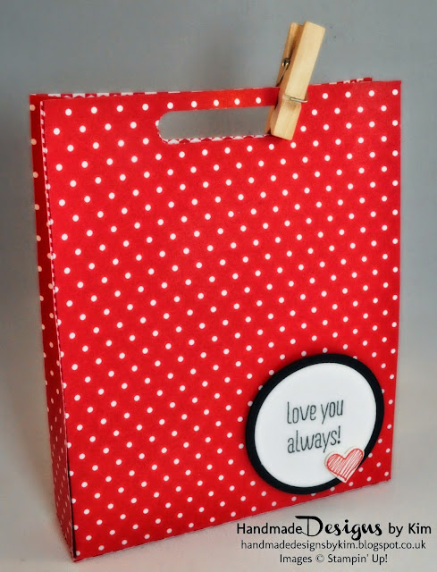 Handmade Valentines Gift Bag using Stampin' Up! Products