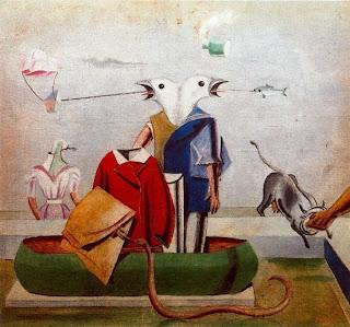 Pájaros, pez, serpiente y espantapájaros - Max Ernst, 1921