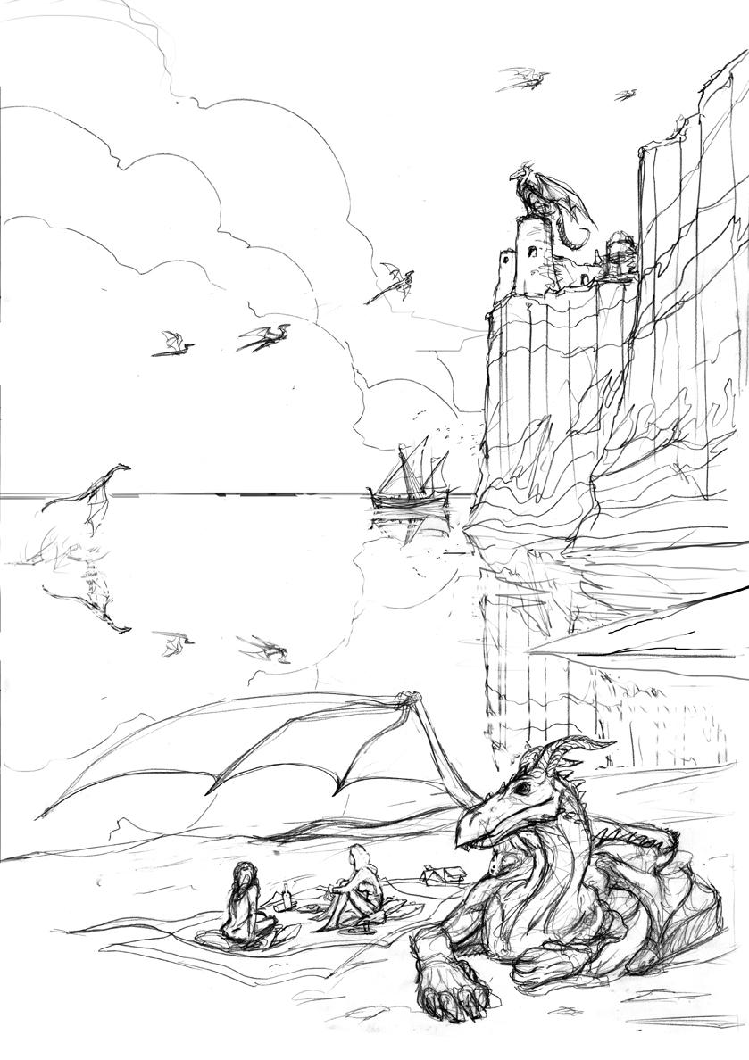 burning monster  a sketch