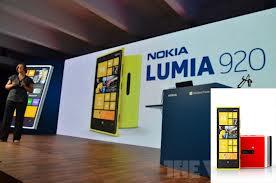Nokia Lumia 920  Nokialumia 920 – Nokia secara resmi meluncurkan smartphone Lumia 920 yang merupakan seri Lumia Windows Phone 8 di New York. Nokia Lumia 920 menggunakan layar berukuran 4,5 inci kapsitif touchscreen  dengan resolusi WXGA, Nokia menyebutnya PureMotionHD+ yang diklaim lebih baik dari HD 720p. Layar Lumia 920 dilapisi dengan lapisan anti gores yang kuat dari Gorilla Glass.