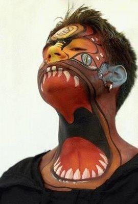 girl full body paint around his neck like a monster