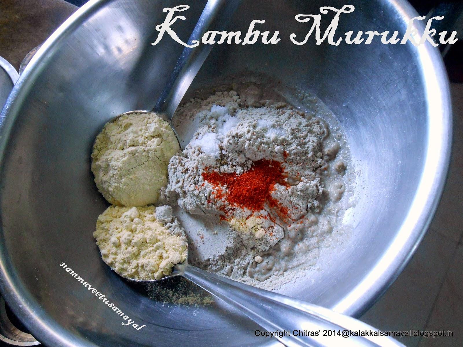 Ingredients for Kambu Murukku [ Pearl Millet Murukku ]