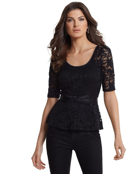 Black Stretch Lace Peplum Top by White House Black Market