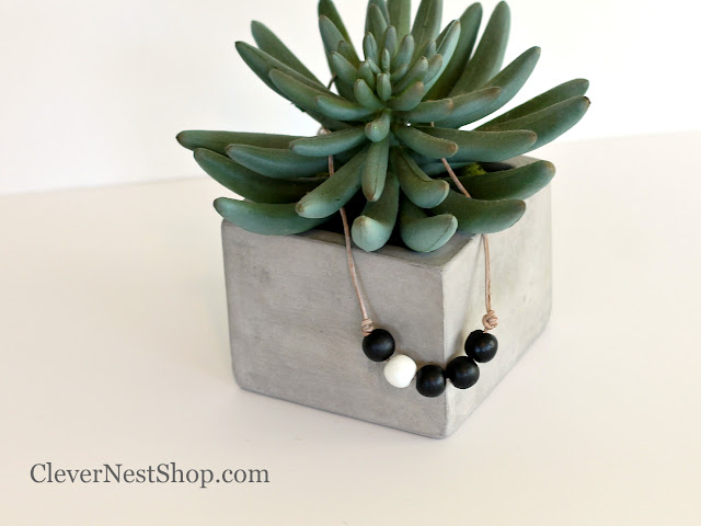 Minimal Wooden Bead necklace on leather by CleverNestShop on Etsy #aquaandgray #woodbeadnecklace #paintedwoodennecklace #handmadestatementnecklace