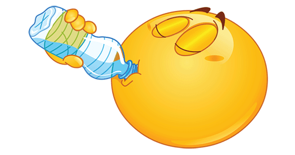 Smiley Drinking Water - Facebook Symbols and Chat Emoticons