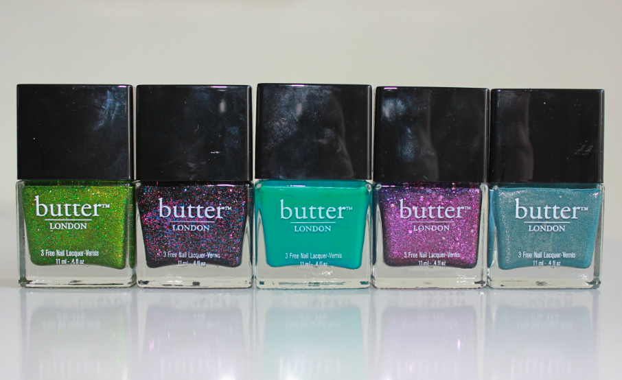 Butter London Collection Swatches Dosh Jack the Lad Slapper Wallis The Black Knight Victoriana Scuppered Swinger Fiddlesticks Scallywag No More Waity Katie Two Fingered Salute Blagger Gobsmacked