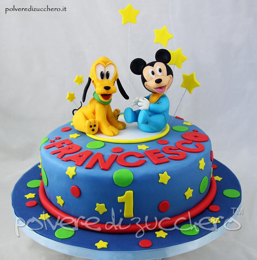 torta decorata per un 1°compleanno con baby topolino e baby pluto disney in pasta di zucchero