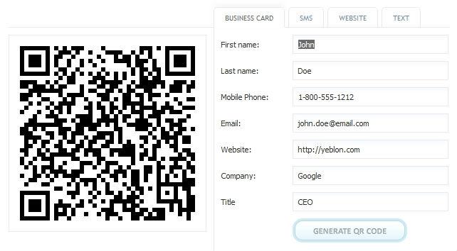 un g u00e9n u00e9rateur de vcard pour qr code