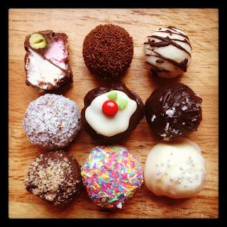 rocky road, rum balls, peppermint ice balls, chocolate balls, chocolate puddings, salted sherry truffles, hazelnut delights, lemon lime truffles, brandy apricot truffles