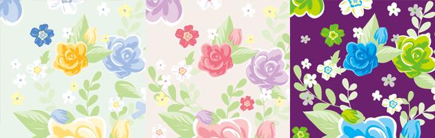 清潔感のあるきれいな花のイラストパターン | 商用利用も可なフリーの花柄パターン素材